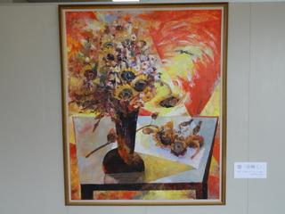 廊下に飾られた絵画−タイトルは「命輝く」